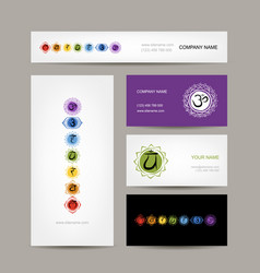 Business cards design seven main chakras vector