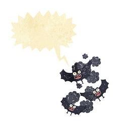 Cartoon bats with speech bubble vector