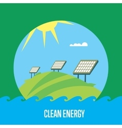 Clean energy banner sun power generation vector