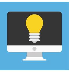 Computer Display and Light Bulb Icon vector image