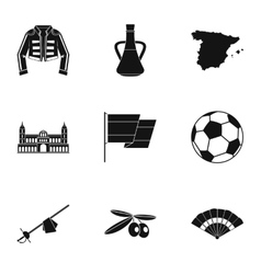 Country spain icons set simple style vector