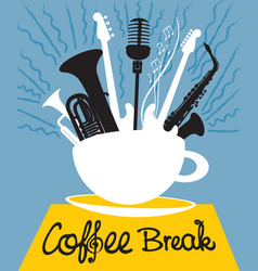 cup of coffee with different musical instruments vector image