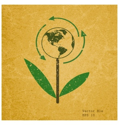 Eco sign on recycled paper vector image vector image