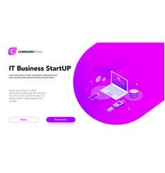 financial business isometrics banner purple vector image