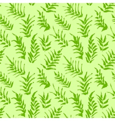 Ink seamless pattern with palm leaves in green vector