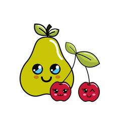 Kawaii happy pear and cherrys icon vector