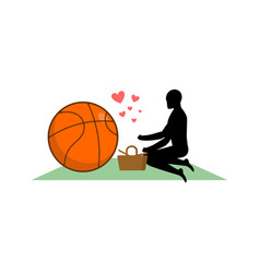 Lover basketball guy and ball on picnic meal in vector