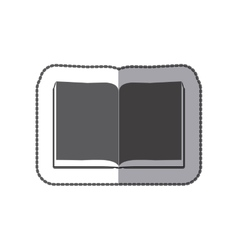 middle shadow sticker grayscale with open book vector image
