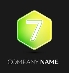 number seven symbol on colorful hexagonal vector image vector image