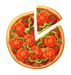 Pizza top view tomato green sweet pepper salami vector