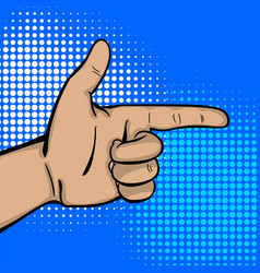 Pop art strong man hand show finger pointer vector