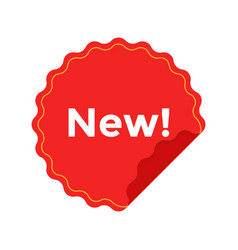 Red badge flat icon with text new for apps and vector