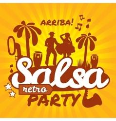 Salsa dancers cuban couple dance salsa vector