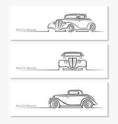 Set of vintage car silhouettes vector image