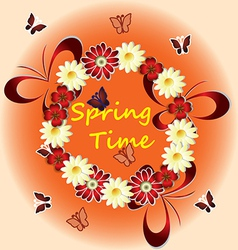 spring time with flowers butterflies vector image