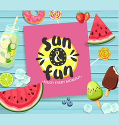 Summer card on blue wooden background vector