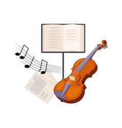 Violin and musical notebook set of school and vector