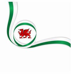 Welsh wavy flag background vector