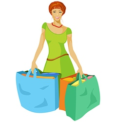young woman with shopping bags in hand vector image