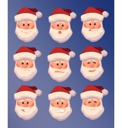 Set of santa claus with different facial vector