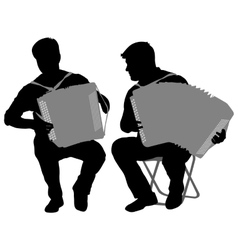 Silhouette of two musicians bayan on white vector
