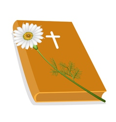Holy bible with wooden cross and daisy flower vector