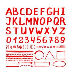 marker pen red hand written elements vector image