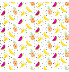 summer fruit salad pattern with bananas vector image