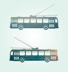 retro public transport trolley bus vector image