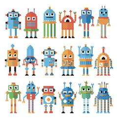set of pixel robots vector image