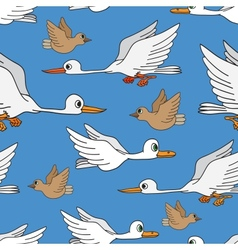 Seamless background birds flying in the sky vector