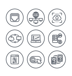Servers networks cloud solutions line icons vector