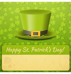 Patricks day card green hat vector