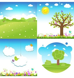 Set cartoon landscape vector