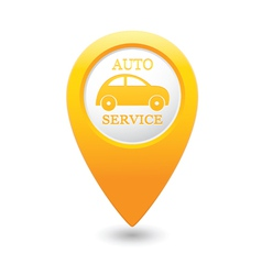 Auto service icon on yellow map pointer vector