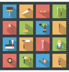 Building flat icons set vector