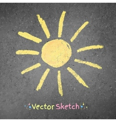 Chalk drawing of sun vector