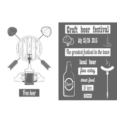 Beer craft fest two-color poster vector