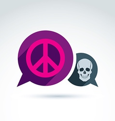 Peace against war icon with death skull conceptual vector