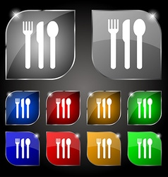 Fork knife spoon icon sign set of ten colorful vector