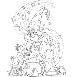 wizard making a potion vector image