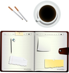 Coffee cigarettes and planner vector