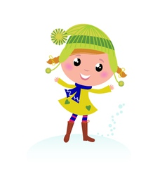 Cute little christmas girl isolated on white vector