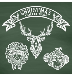 Christmas collection icons with mandala ornament vector