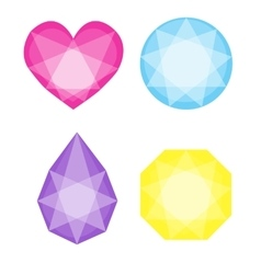 Diamonds icons set in different colors vector