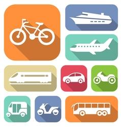 White travel transport flat icons set vector