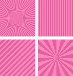 Pink striped pattern background set vector