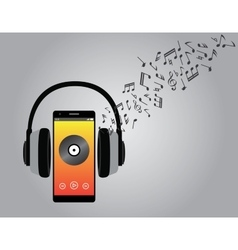 Listening music with cellphone smartphone and vector