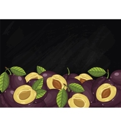 Plum fruit composition on chalkboard vector