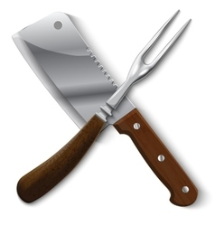 Stylish vintage meat carving fork and cleaver vector